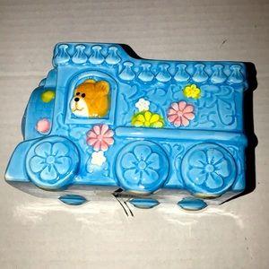 Vintage Choo Choo train planter in blue/teddy bear